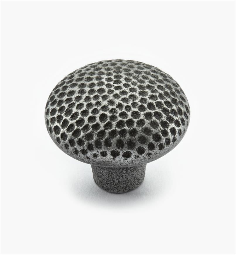 02G0255 - Bouton rond en bronze coulé de 1 1/2 po x 1 1/4 po, étain