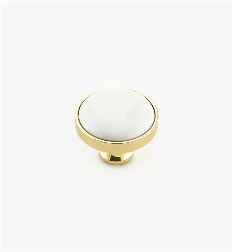 00W7615 - Polished Brass/White Knob