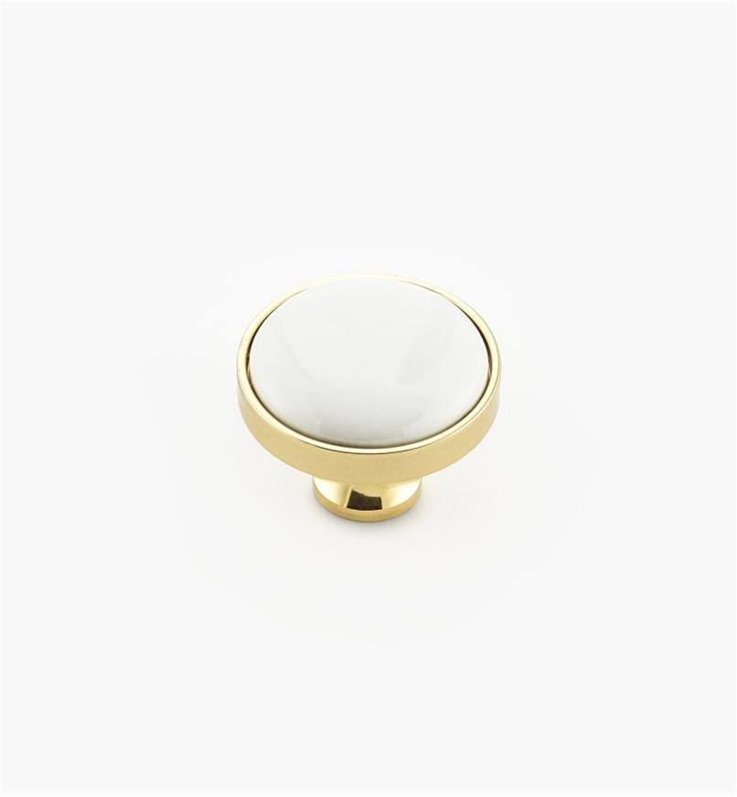 00W7615 - Bouton laiton-céramique, blanc, 1 3/16 po x 15/16 po