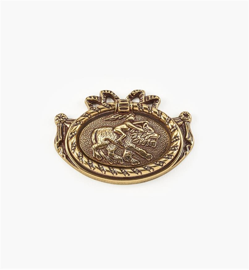 01A2172 - Poignée à anneau Louis XVI sur platine ovale, 3 1/8 po x 2 1/4 po