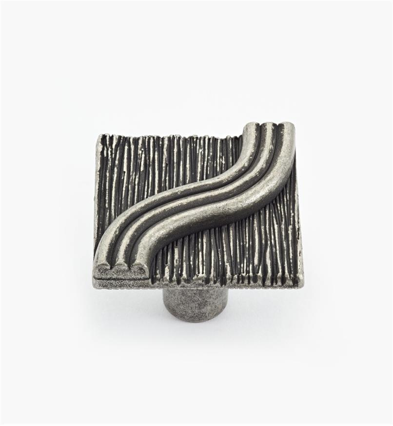 02A4407 - Textured Antique Pewter Square Knob
