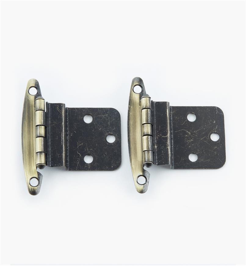 "02H1311 - 3/8"" Antique Brass Offset Hinge, pair"