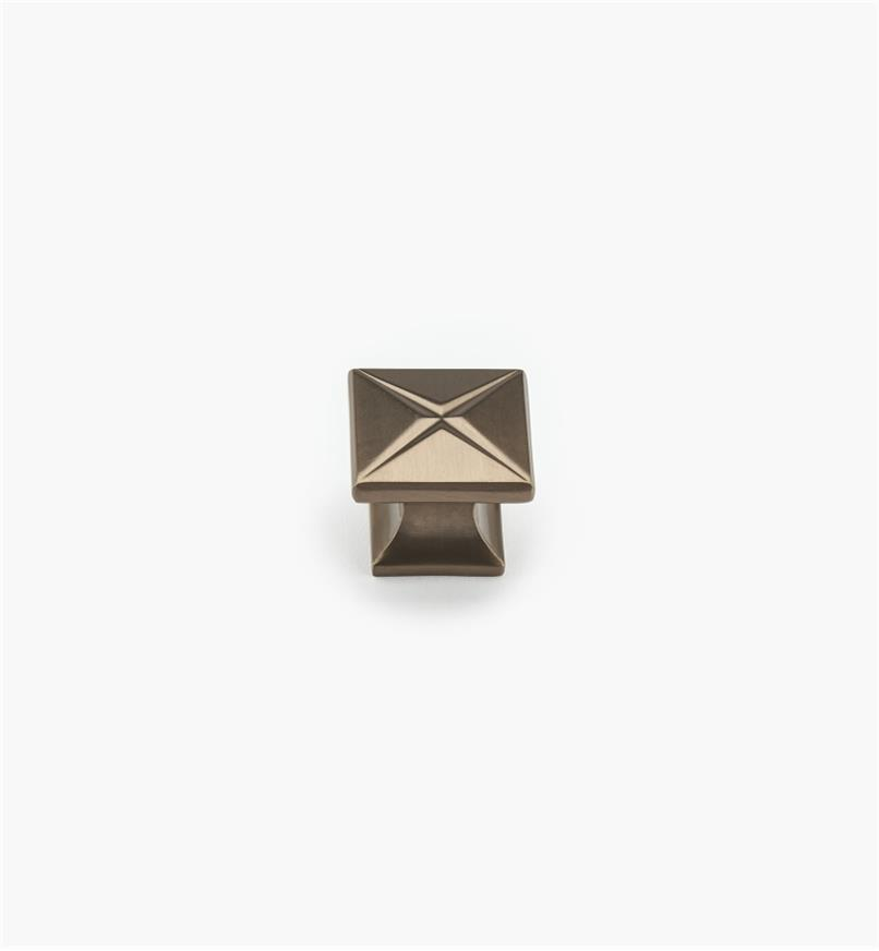 "02G0413 - Northport 1 3/8"" Burnished Bronze Square Knob"