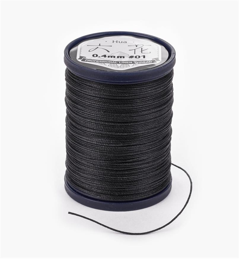 97K0901 - 0.4mm Black Waxed Linen Thread