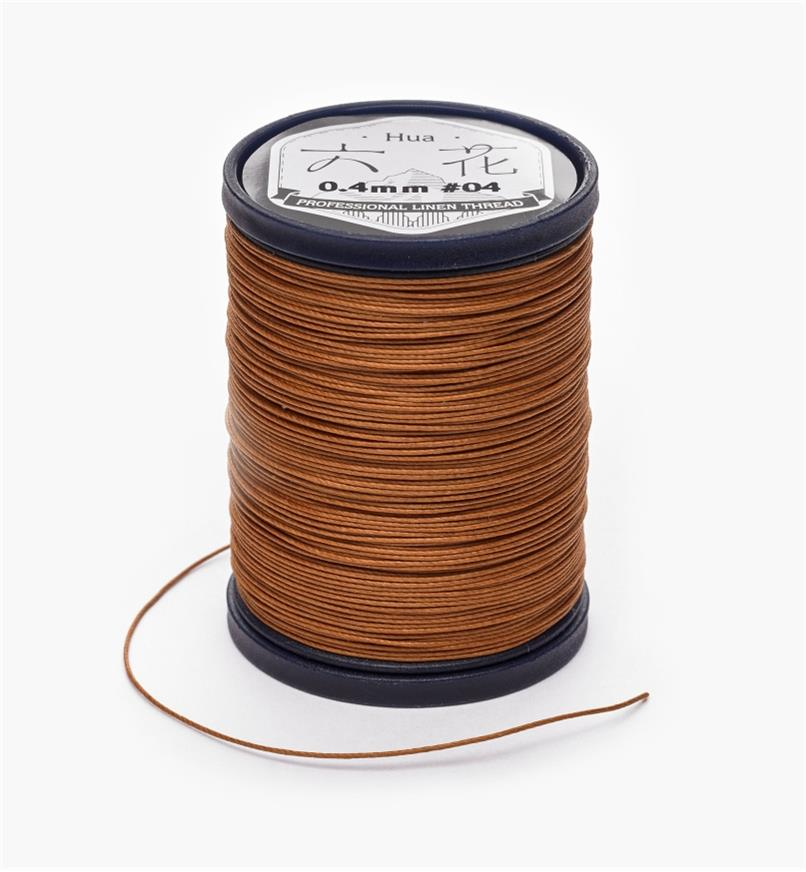 97K0903 - 0.4mm Brown Waxed Linen Thread