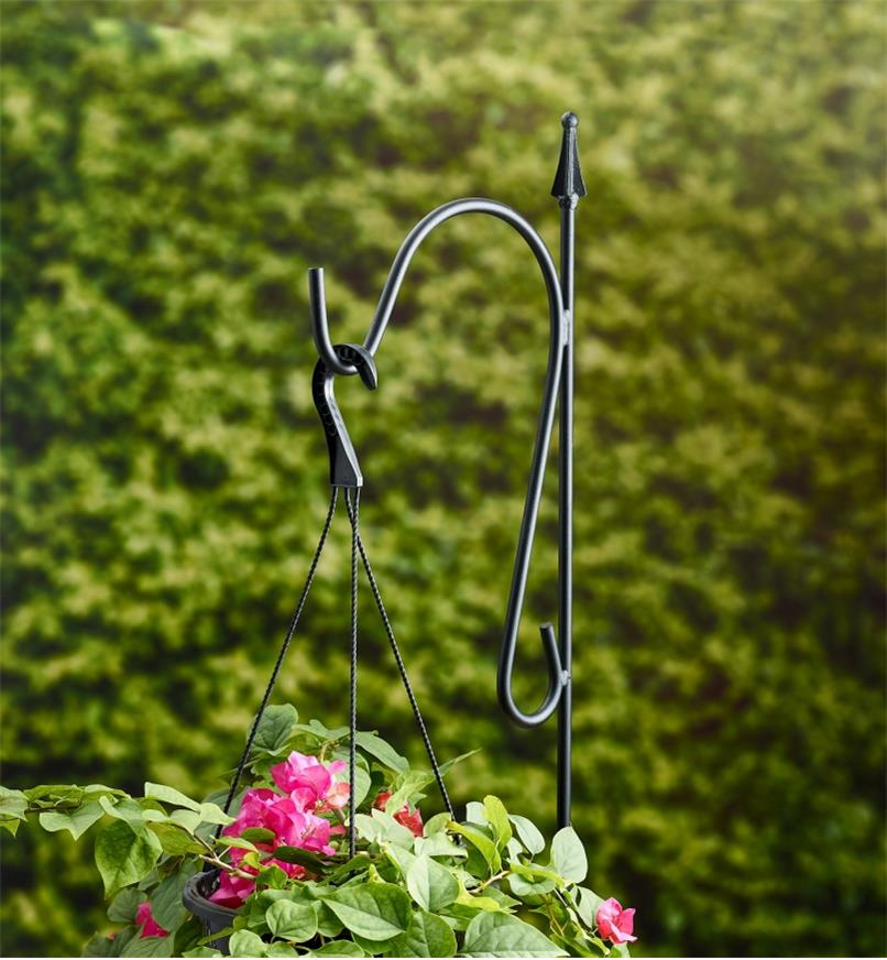 A single garden hanger used to display a hanging flower basket