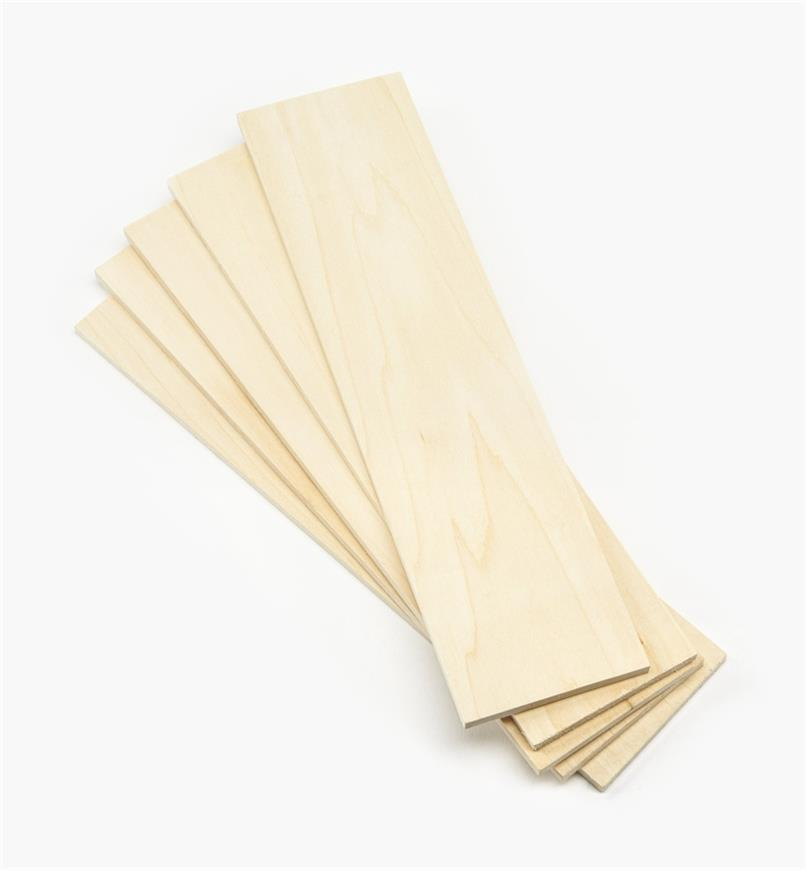 "55K5352 - 1/4"" x 3"" x 12"" Basswood Boards, pkg. of 5"