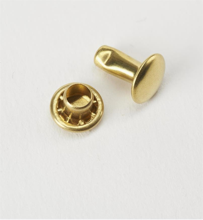 91Z5123 - ABC Morini Double-Capped Brass 7mm Small Rivets, pkg. of 25