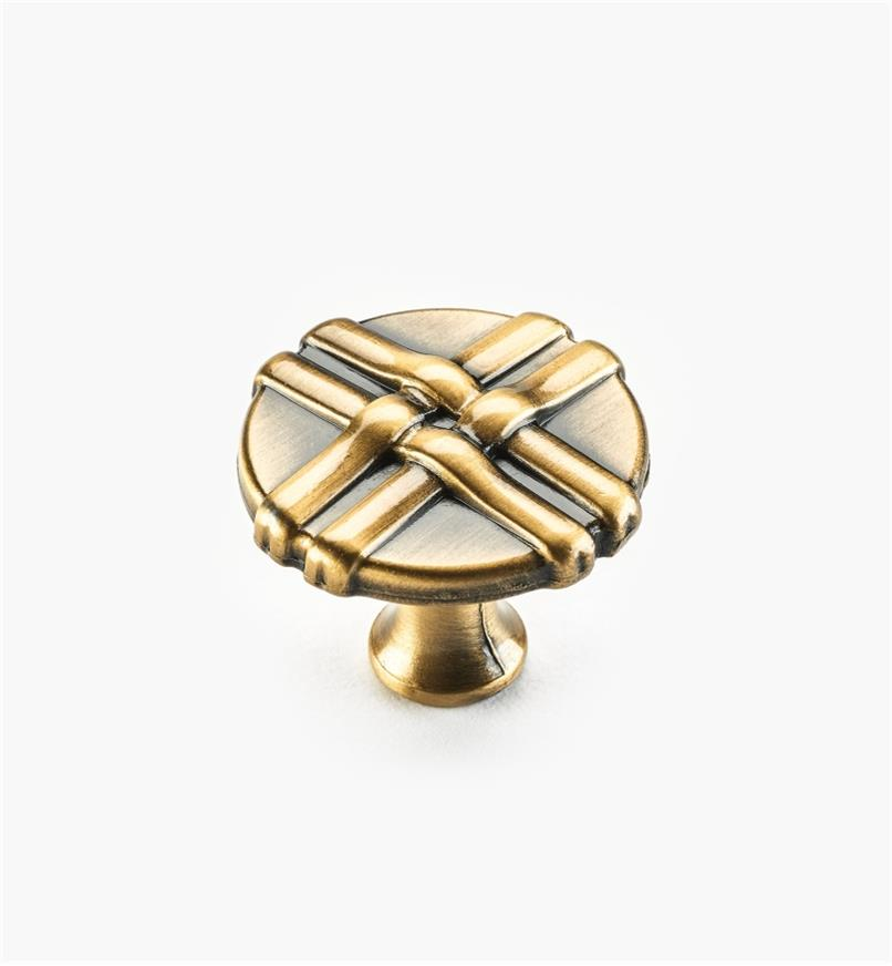 01W0630 - 34mm Brushed Antique Brass Ribbon Knob