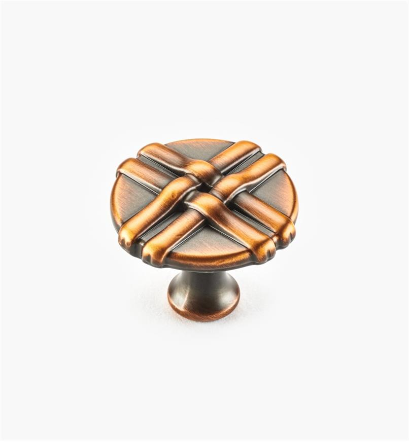 01W0632 - 34mm Brushed Antique Copper Ribbon Knob