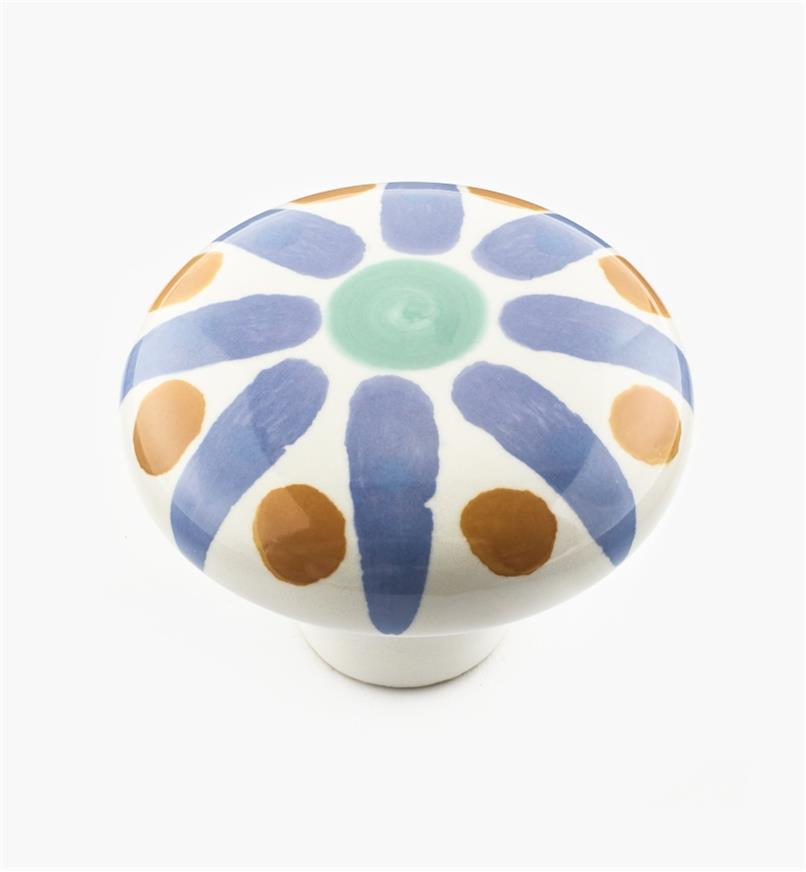 "02W1501 - 2"" Blue Sunburst Ceramic Knob"
