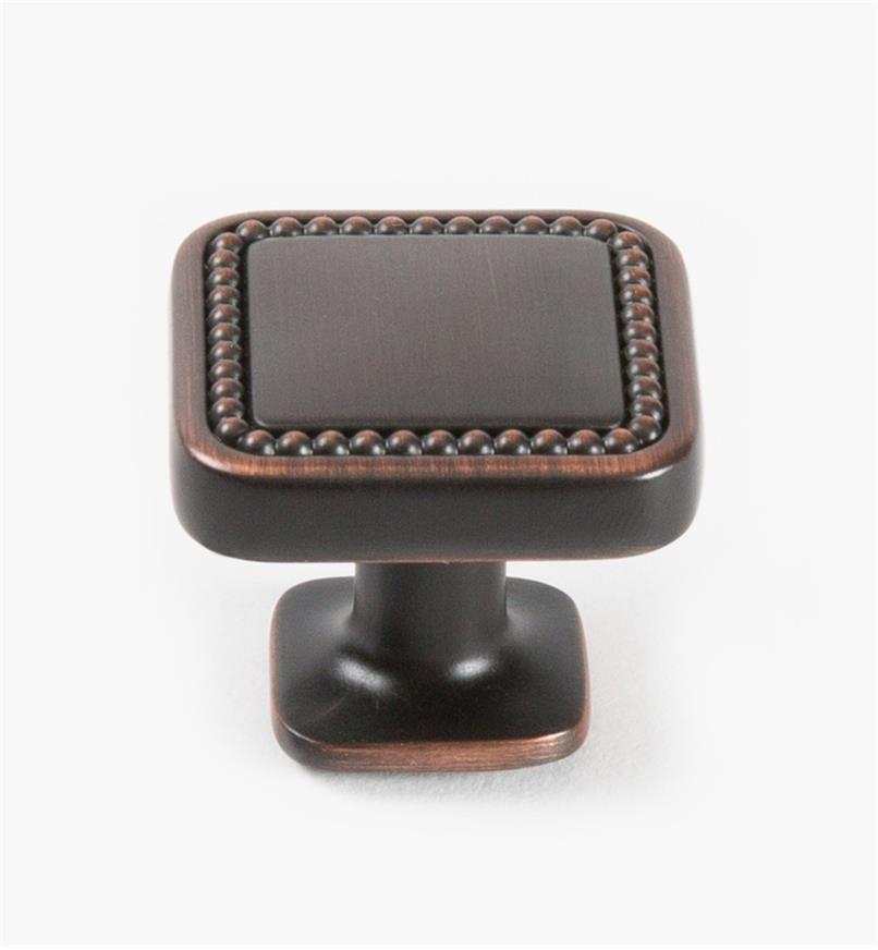 "02A1630 - Carolyne Oil-Rubbed Bronze 32mm (1 1/4"") Square Knob, each"