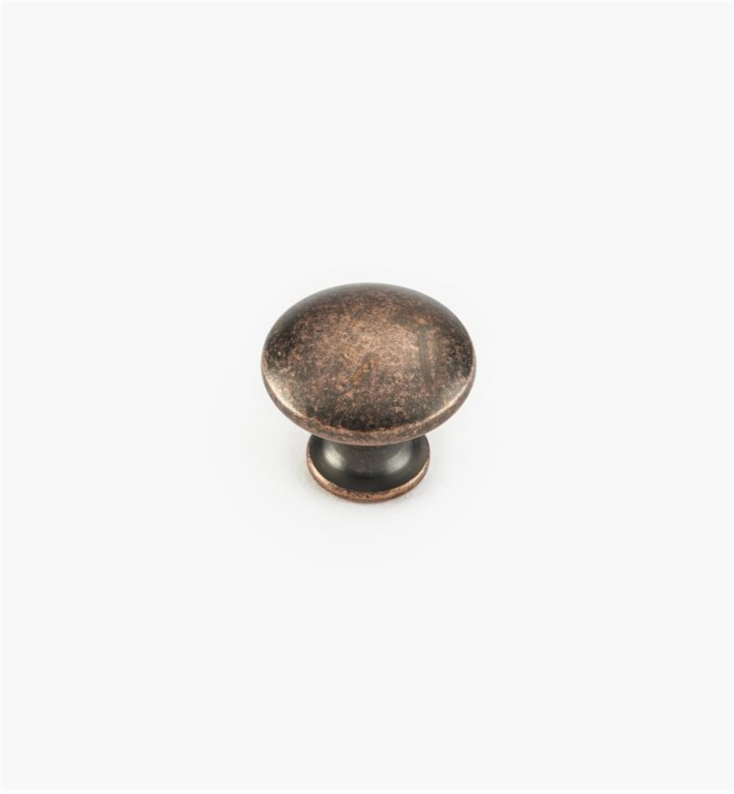 "02W4223 - 3/4"" x 5/8"" Antique Copper Knob"