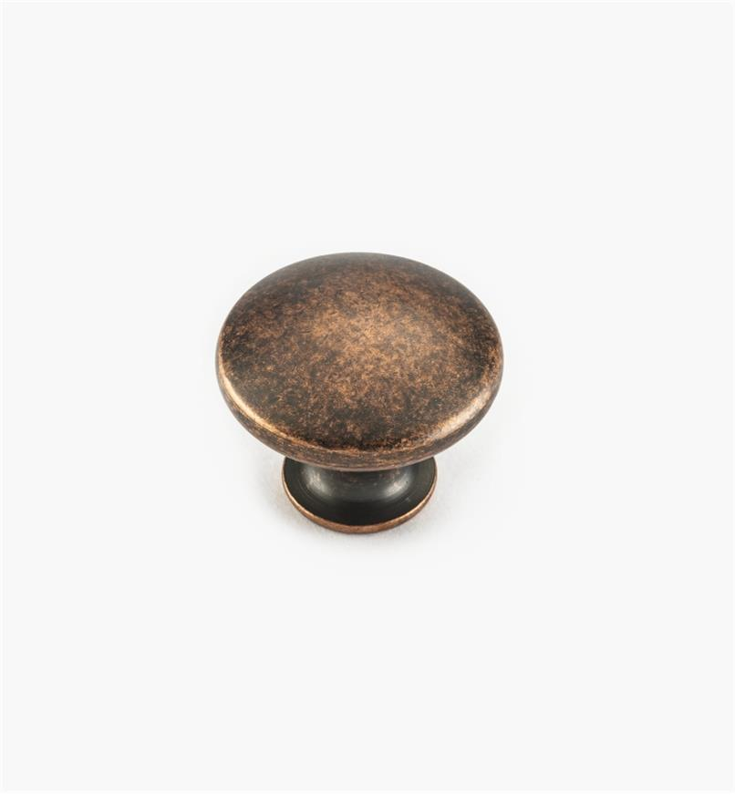"02W4225 - 1"" x 3/4"" Antique Copper Knob"