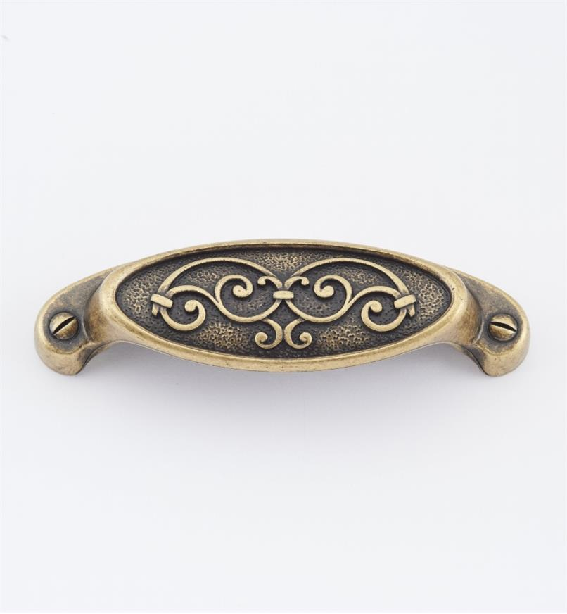 "01A2980 - 4"" (64mm) Filigree Oval Shell Pull"