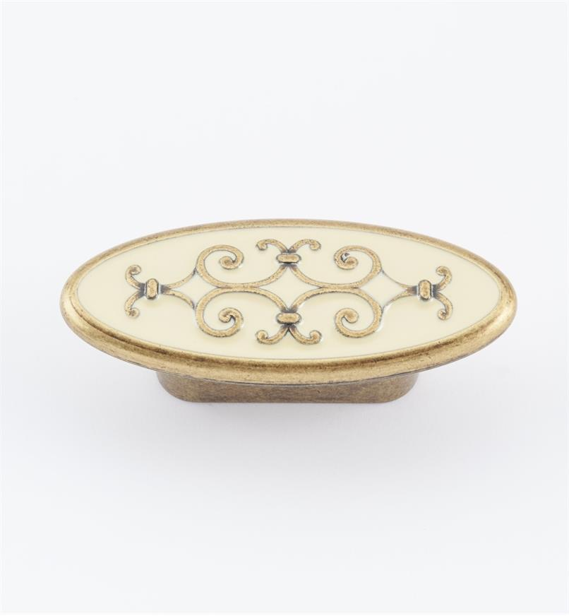01A2987 - Bouton ovale de 2 7/8 po (32 mm), série filigrane, surface émaillée