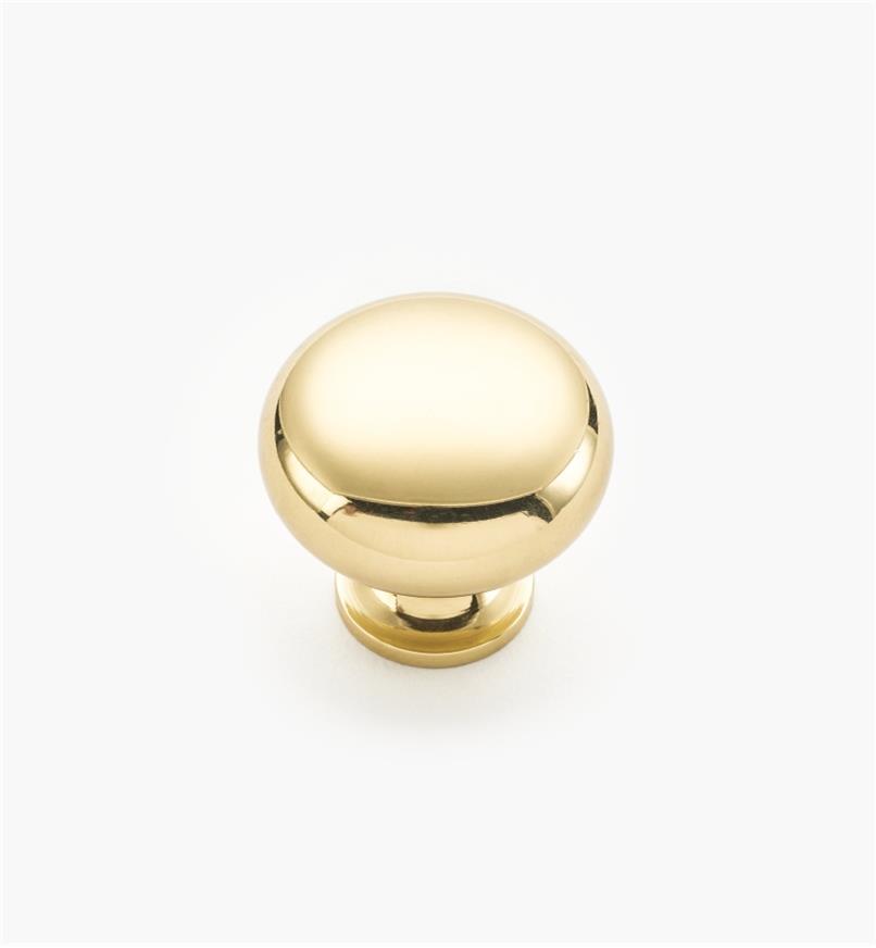 """02W1210 - 1 3/16"""" x 1 1/8"""" Hartford Polished Brass Classic Knob"""