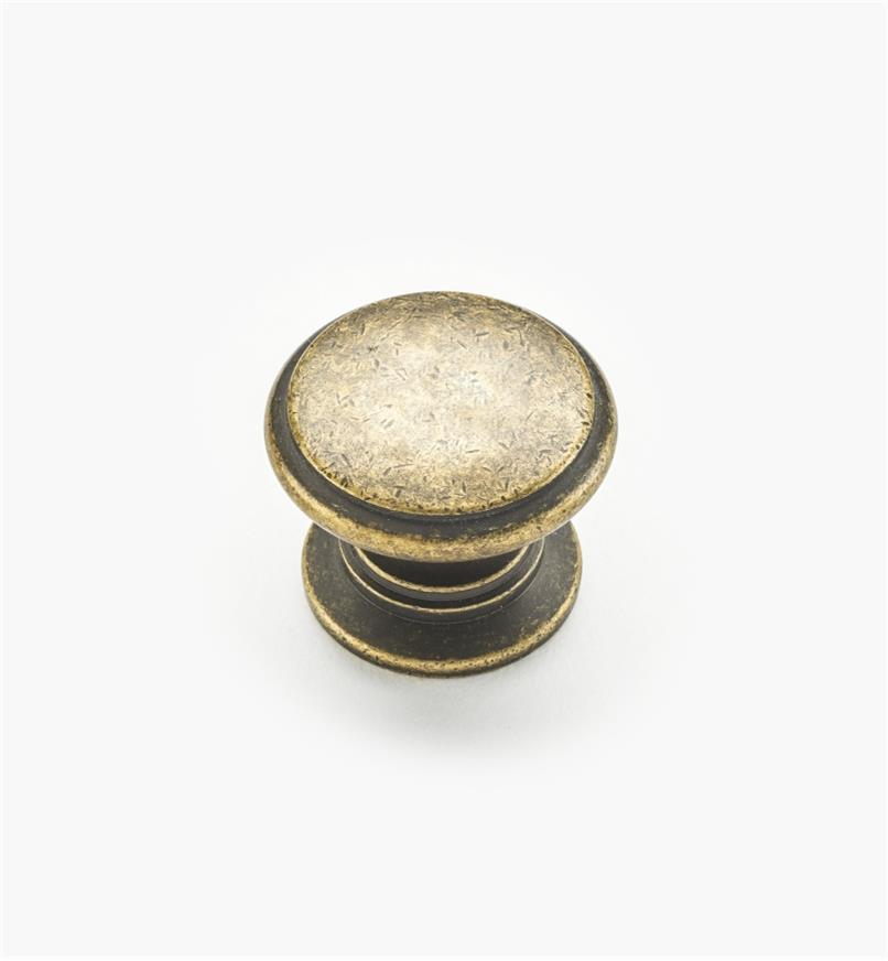 02W1241 - Bouton rond de 1 1/4 po x 1po, série Hartford, fini laiton antique