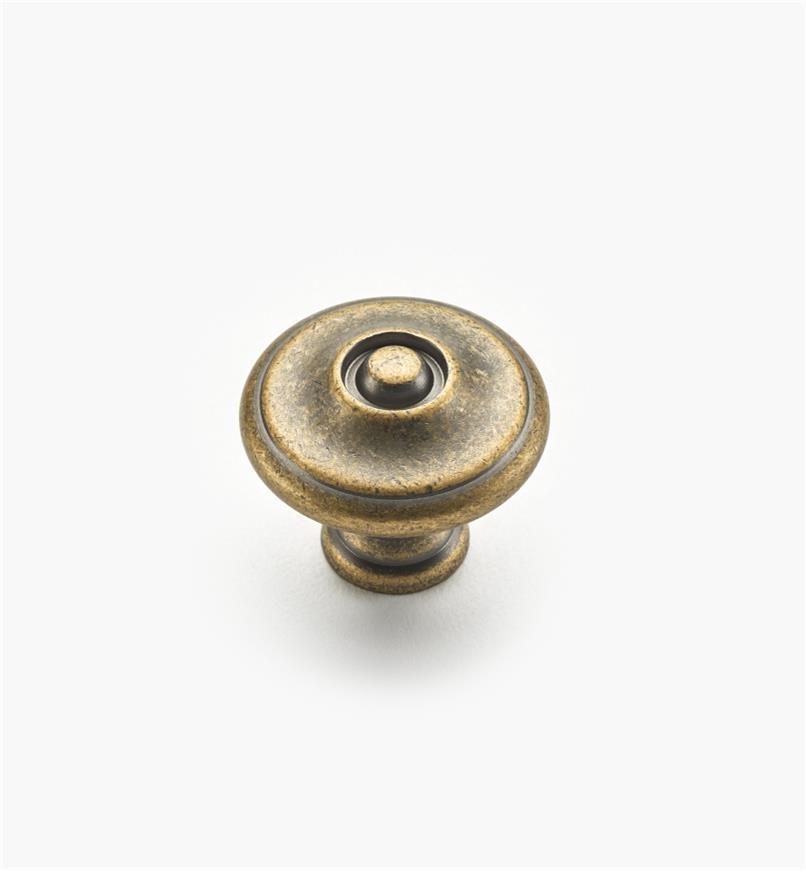 02W1243 - Bouton annelé de 1 1/8 po x 1 po, série Hartford, fini laiton antique