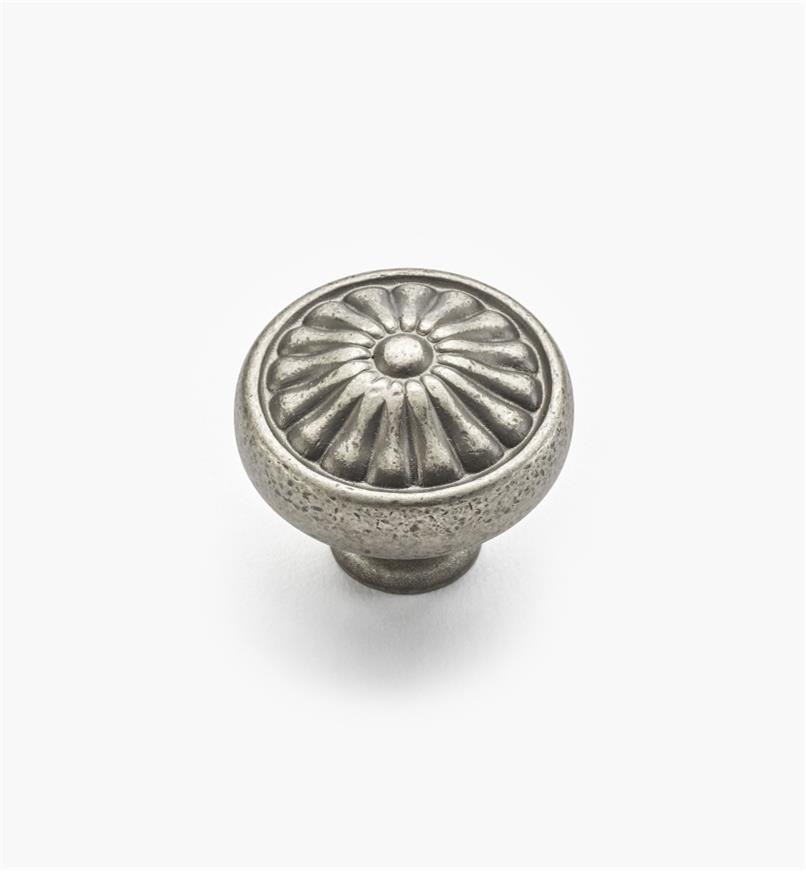 "02W1274 - 1 1/4"" x 1"" Antique Pewter Petal Knob"