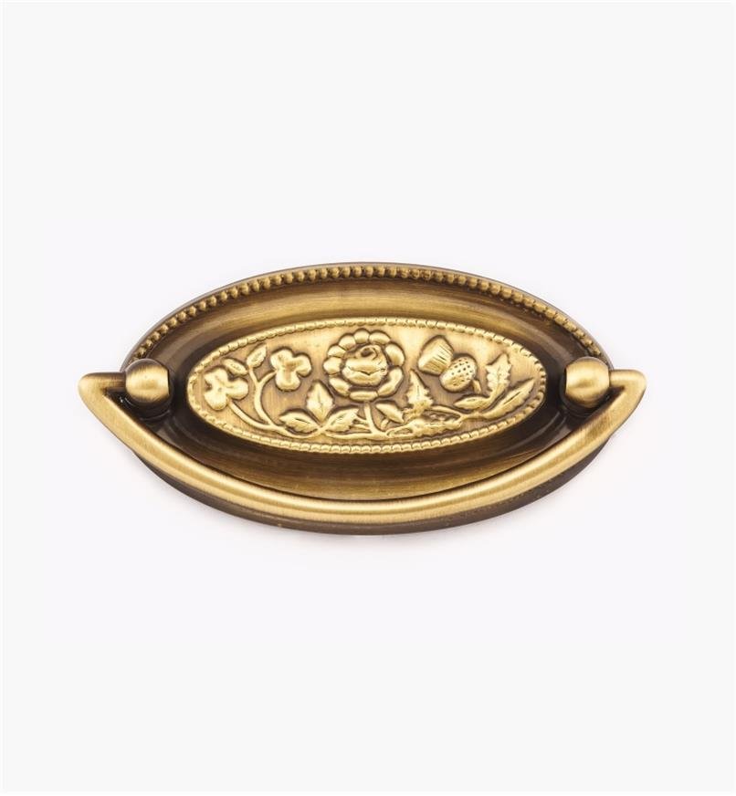 """00W2010 - 4"""" x 2"""" (3 1/8"""") Floral Plate Pull"""