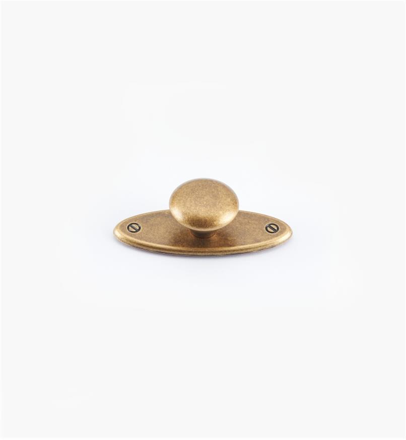 01X3030 - Bouton sur platine ovale, fini laiton antique, 65 mm x 25 mm