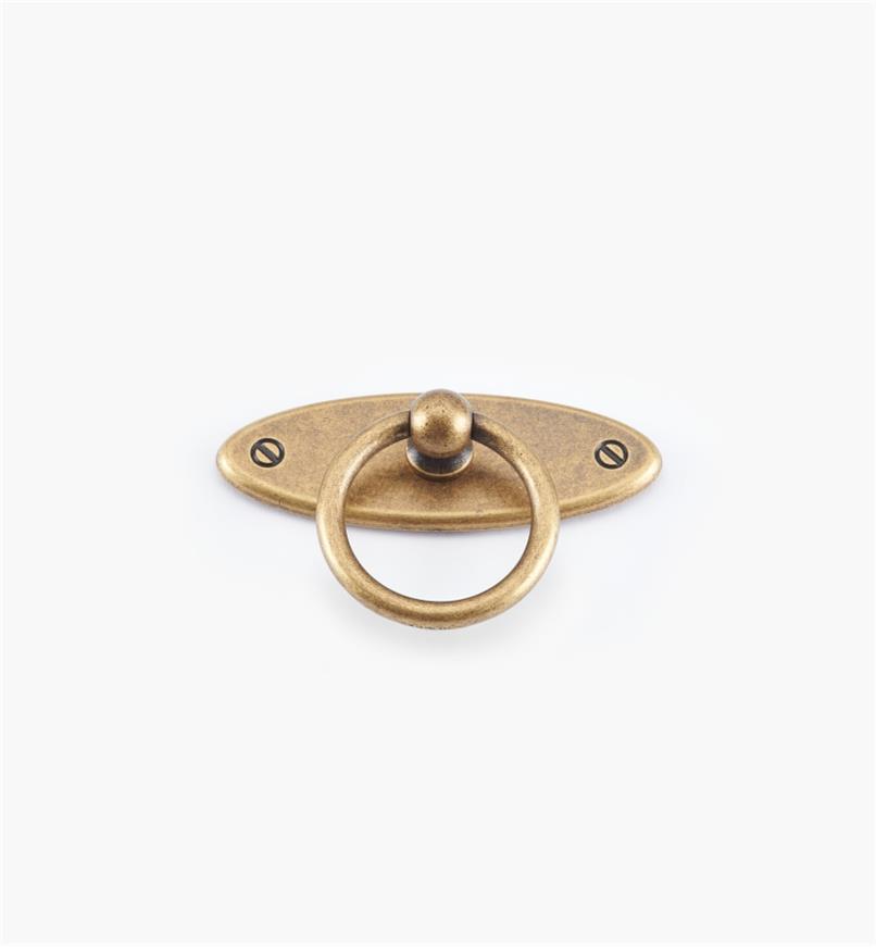 01X3065 - Poignée à anneau sur platine ovale, fini laiton antique, 65 mm x 35 mm