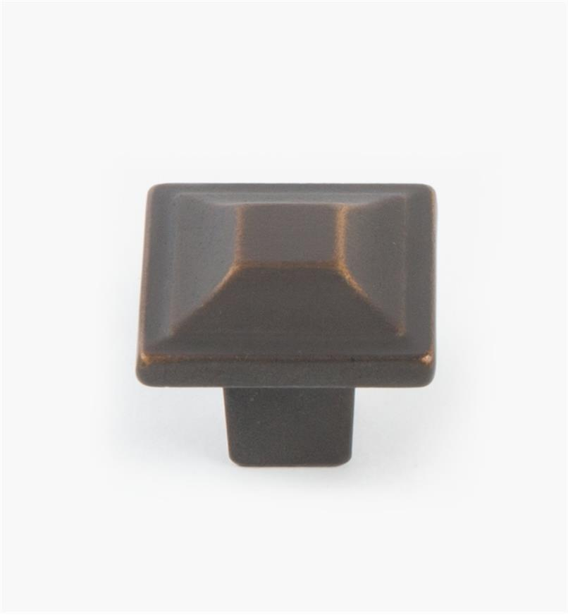 02A5270 - Menlo Park Hardware Antique Bronze Square Knob, 1 1/4""
