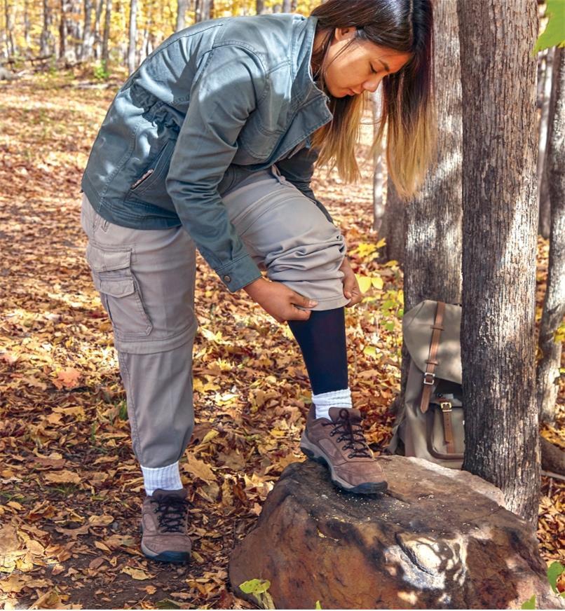 A woman wearing Rynoskin pants under regular clothing