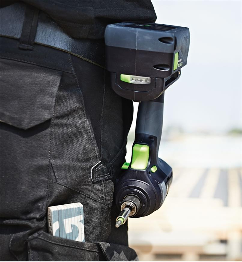 Festool TID 18 Cordless Impact Screwdriver attached to a belt with the included belt clip