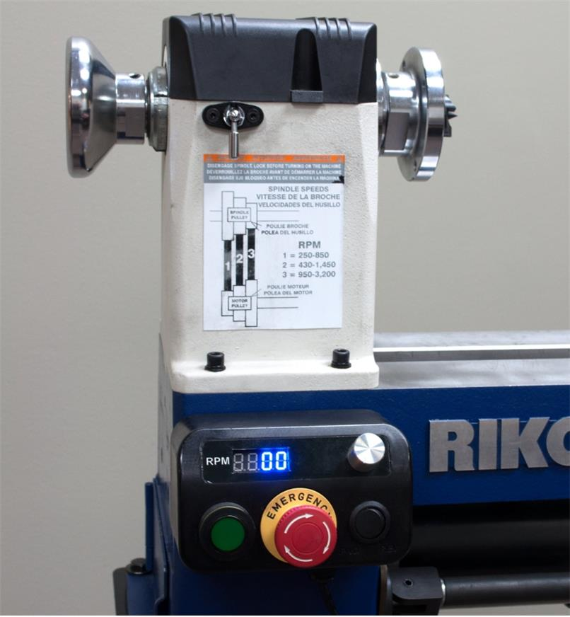 A close view of the Rikon 70-150VSR Midi lathe's magnetic control box mounted on the lathe bed