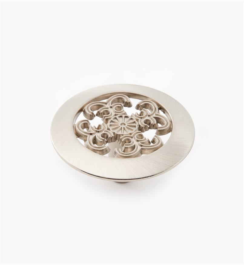 "03W2916 - 1 1/2"" × 3/4"" Satin Nickel Filigree Knob, each"