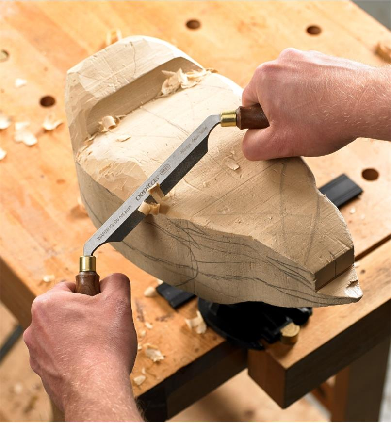 Using the Veritas PM-V11 Carver's Drawknife to carve a wooden duck decoy