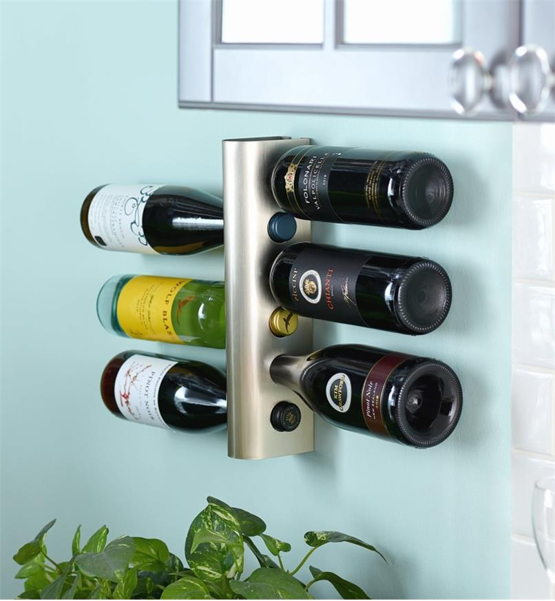 Wine Rack installed on a wall, holding six bottles