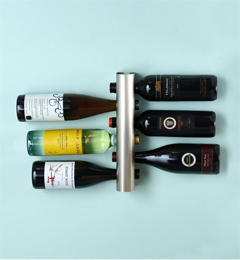 Close-up showing how the Wine Rack holds bottles by the neck