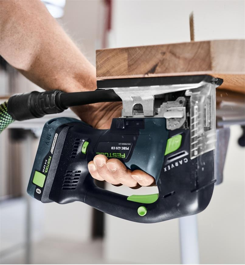 Making upside down cuts with the Festool Carvex PSBC 420 Cordless Pendulum Jigsaw