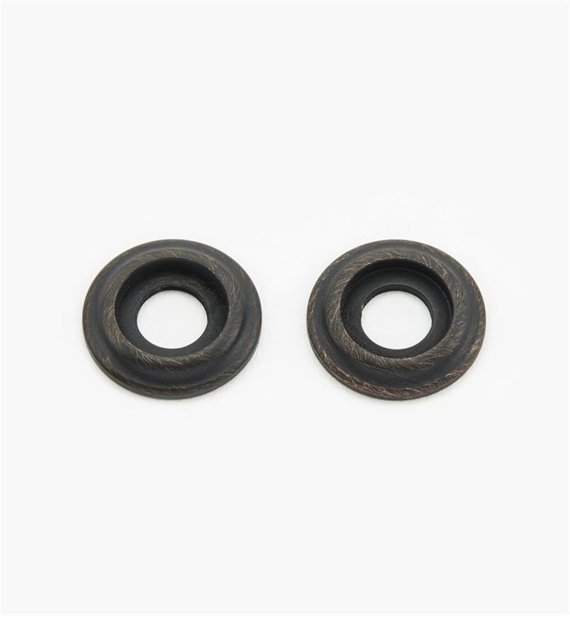01W8010 - Rosaces pour poignée en laiton coulé, vieux bronze, la paire