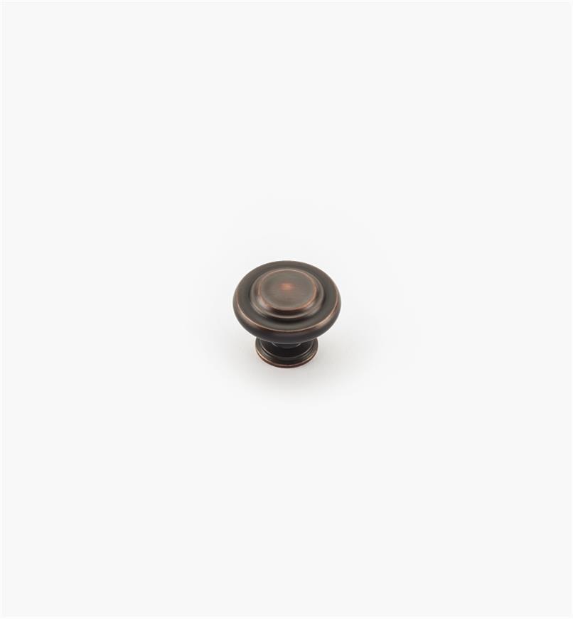 02A0535 - Bouton annelé de 15/16po, série Inspirations, fini bronze huilé