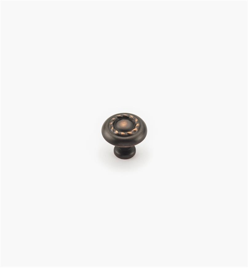 02A0834 - Bouton à motif cordé de 11/4po, série Inspirations, fini bronze huilé