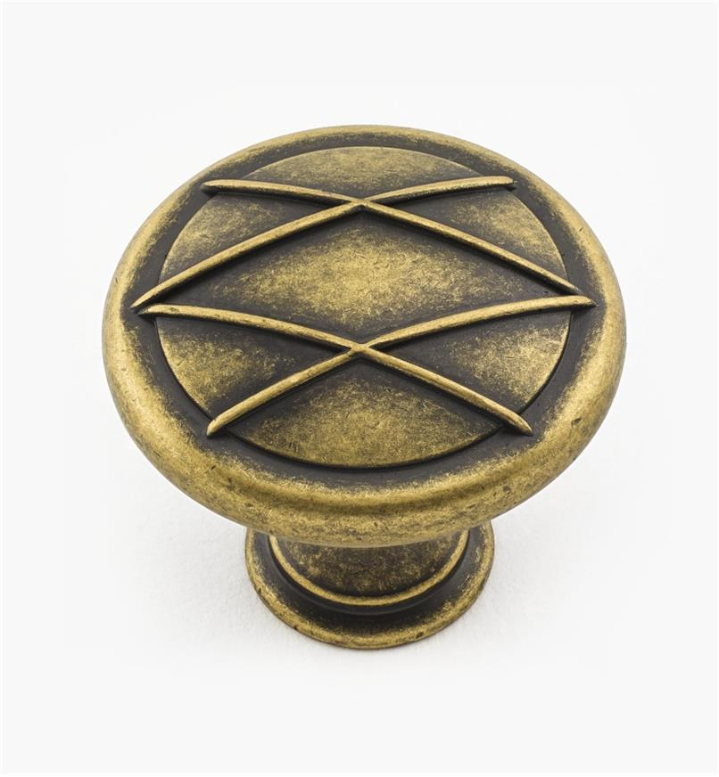 "02A1370 - 1 5/16"" Antique Brass Knob"