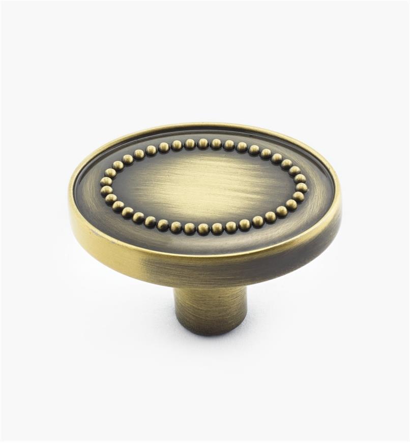 "02A4015 - 1 3/8"" Elegant Brass Oval Knob"