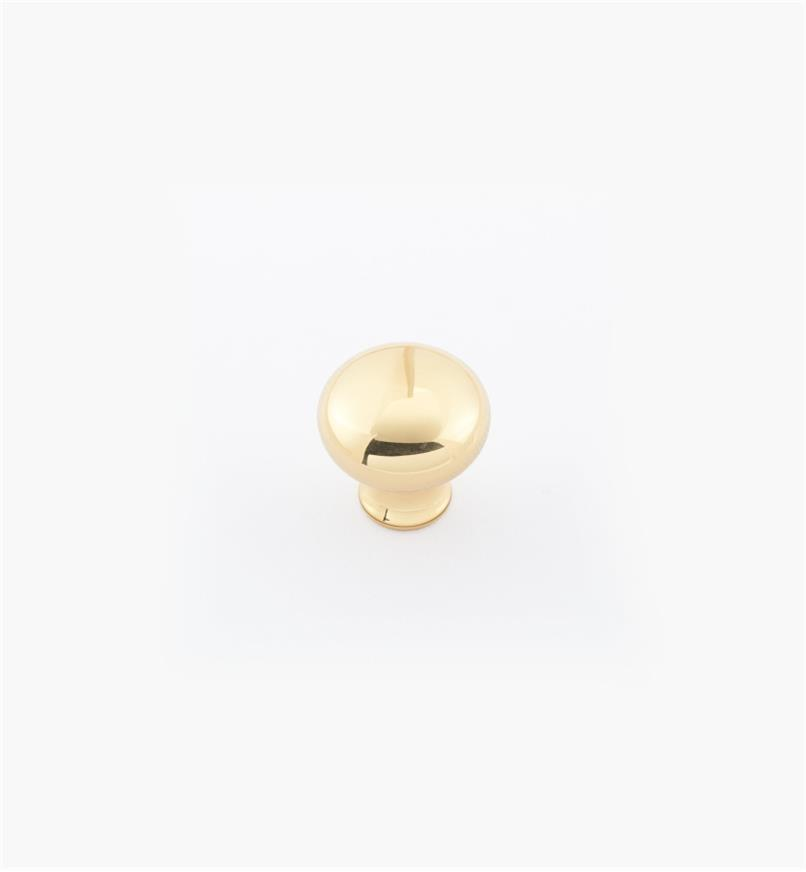 "02W1401 - 1/2"" × 1/2"" Round Brass Knob, Polished Brass"