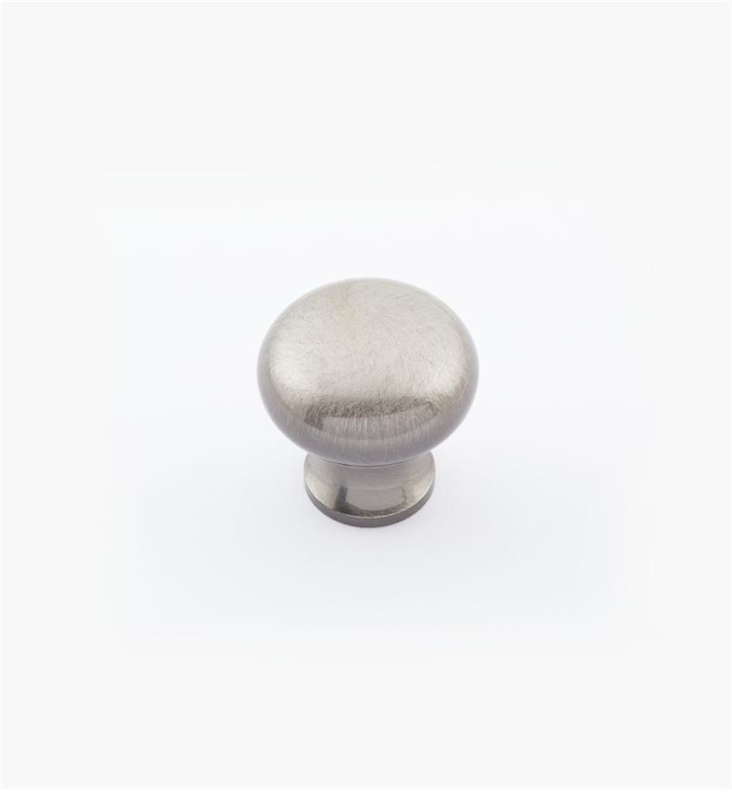 "02W1432 - 3/4"" × 3/4"" Round Brass Knob, Antique Nickel"