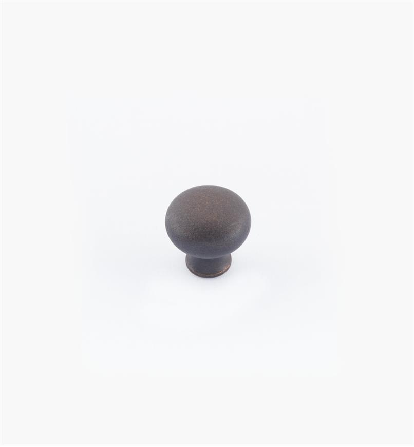 "02W1441 - 1/2"" × 1/2"" Round Brass Knob, Weathered Bronze"