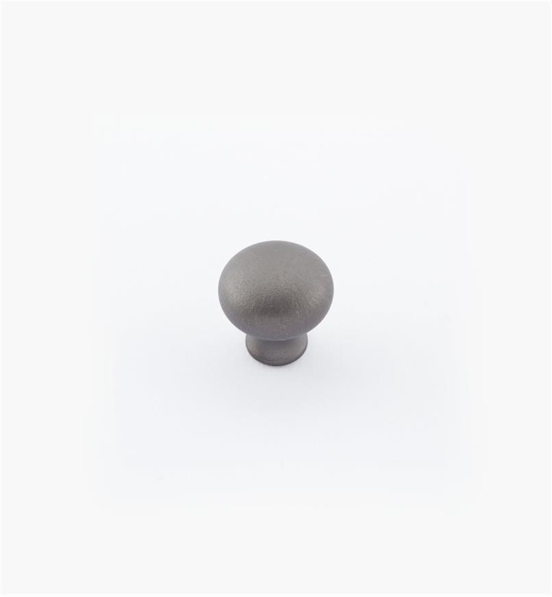 "02W1451 - 1/2"" × 1/2"" Round Brass Knob, Pewter"