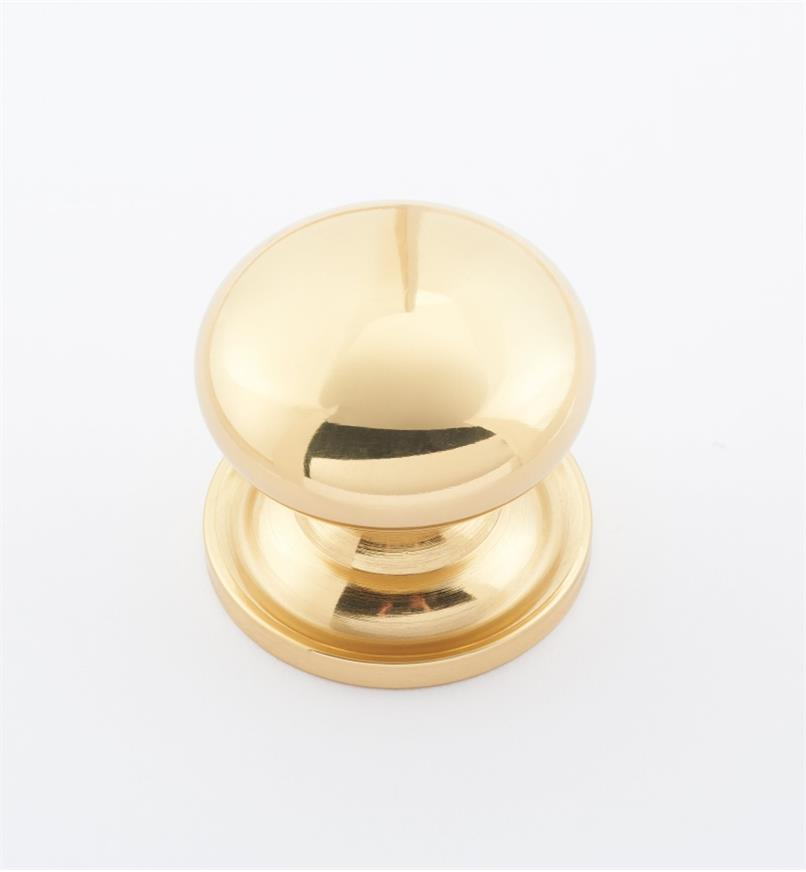 "02W1512 - 1 3/16"" × 1 1/8"" Round Brass Knob, Polished Brass"