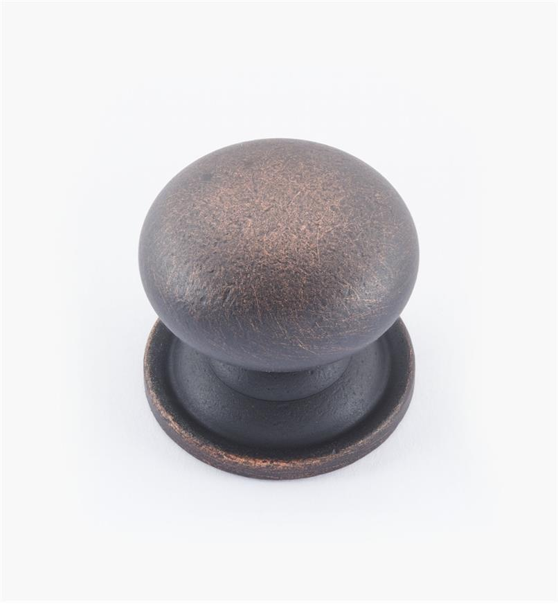 "02W1552 - 1 3/16"" × 1 1/8"" Round Brass Knob, Weathered Bronze"