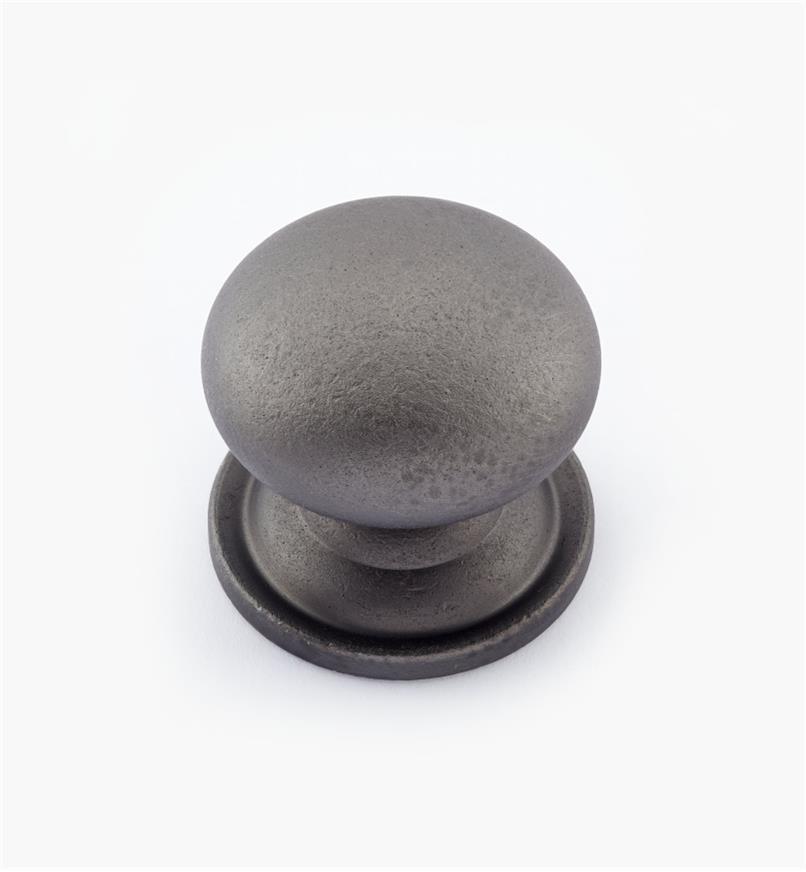 02W1562 - Bouton bombé en laiton de 1 3/16 po × 1 1/8 po, fini étain