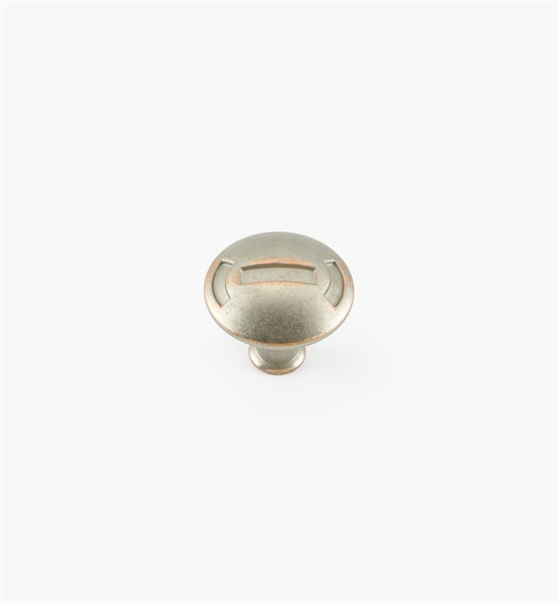 02W1961 - Bouton Médiévale de 1 1/4 po x 1 1/8 po, fini nickel-cuivre vieilli