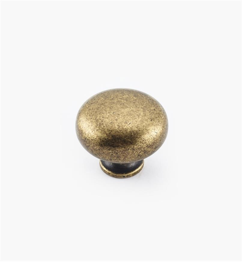 "02W2401 - 1 1/4"" x 1"" Antique Brass Knob"